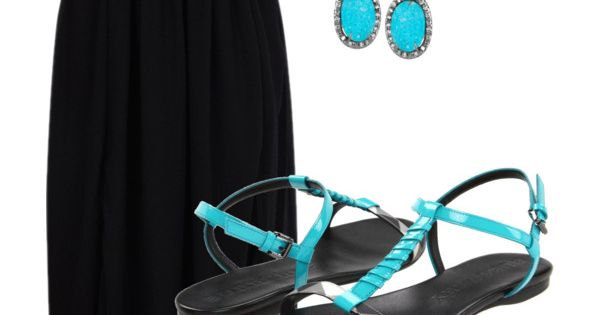 this simple black dress with the pop of turquoise