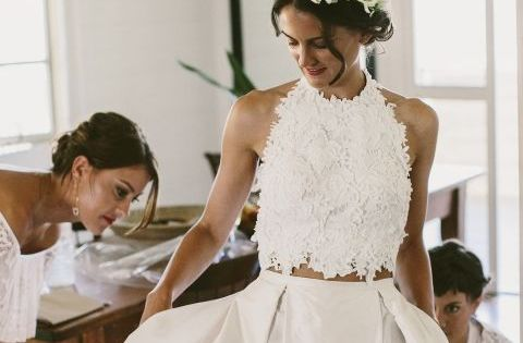 Beautiful wedding two piece wedding dress!  Dresses :)  Pinterest ...