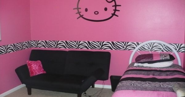 Pin By Wallpops On Photos From Wallpops Fans Zebra Bedroom Hello Kitty Bedroom Girls Room Decor