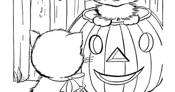 halloween coloring pages to print pumpkin cat