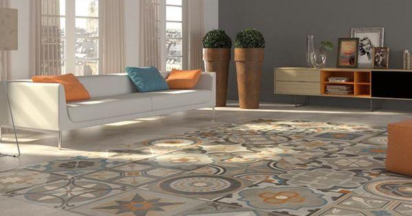 carrelage imitation anciens carreaux de ciment d cor formes g om triques 60x60 cm id es d co. Black Bedroom Furniture Sets. Home Design Ideas