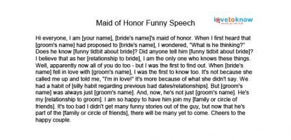 Funny maid of honour speech examples