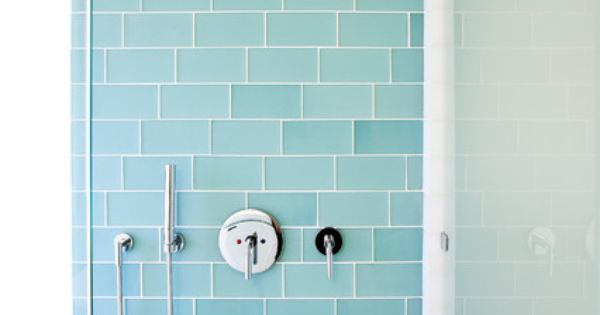 Example Blue Subway Tile Clear Glass Chrome Fixtures Sunlight Or