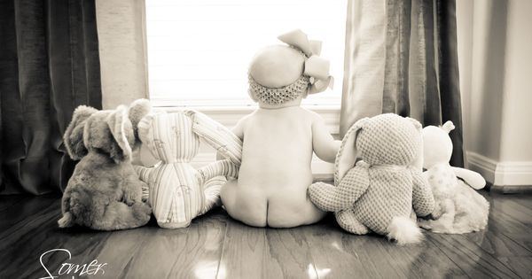 6 month old baby bare butt and her stuffed animals - Alejandra