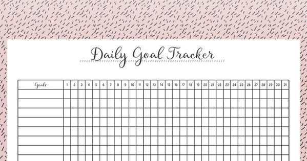 FREE Daily Goal Tracker Printable   Each day, The box and A business