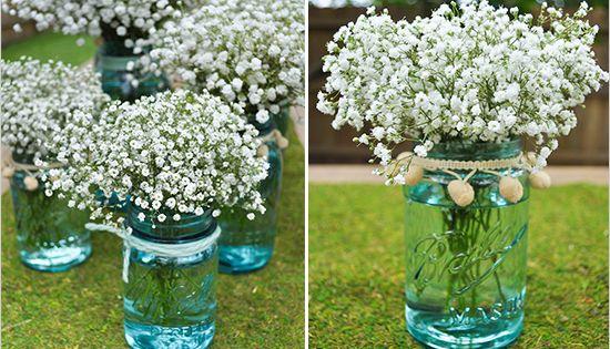 Do it yourself babys breath arrangement blue mason jars for Do it yourself flower arrangements