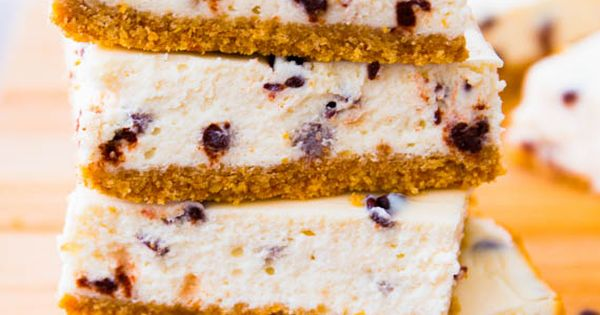 Skinny Chocolate Chip Cheesecake Bars - you won't even know they're light!