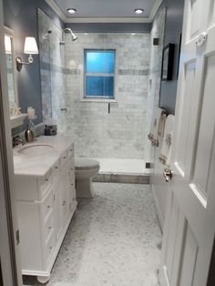 Fixer Upper Long Narrow Bathroom Google Search Small Master Bathroom Bathroom Remodel Master Stylish Bathroom