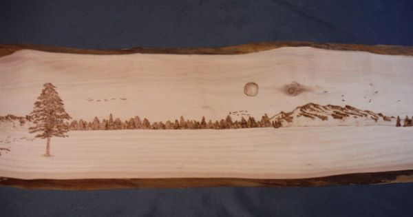 Wood Burning Mountain Scene By Rusticfire On Etsy Things