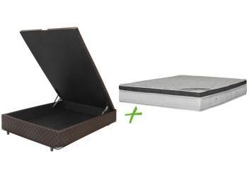 Cama Box Casal Box Colchao Ortobom Mola Pocket Com Bau 61cm