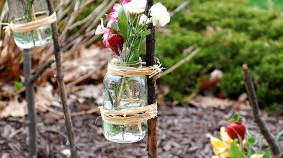 Gartenfeier dekoration gl ser vasen blumen outdoor garten pinterest marmeladengl ser - Einschulungsfeier deko ...