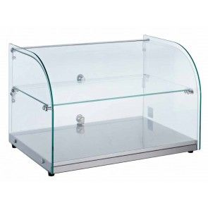 22 Countertop Dry Glass Food Display Case Curved Glass Bakery