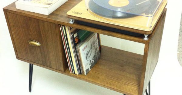 Vinyl Record Storage, Console Table, Mid Century Modern