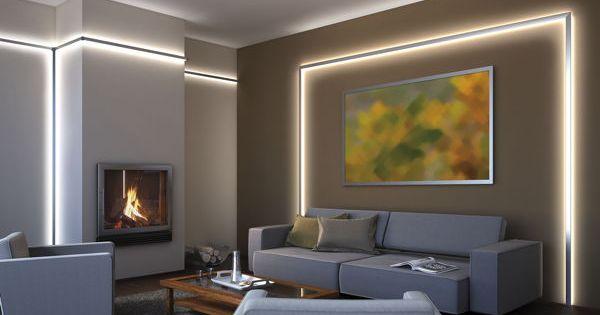 foto wohnraum mit indirekter led beleuchtung hinter alu. Black Bedroom Furniture Sets. Home Design Ideas