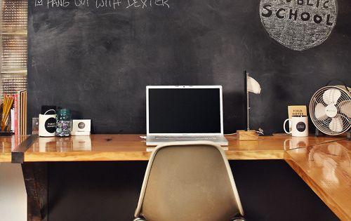 office space - chalkboard wall + corner desk