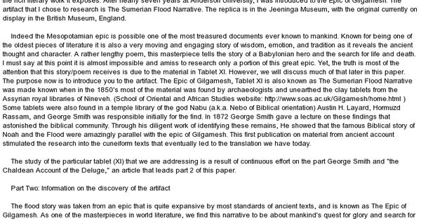 the story of the flood the epic of gilgamesh essay