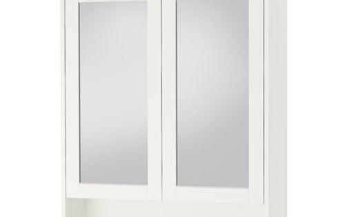 Hemnes meuble miroir 2 portes ikea tablette r glable en for Miroir ikea hemnes