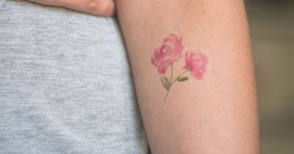 Peony Watercolor Flower Tattoos: Watercolor Peony Temporary Tattoo Single By