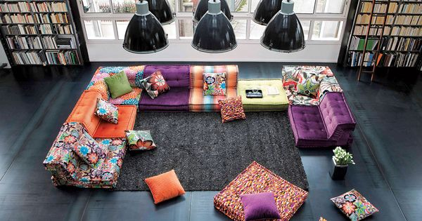 Love the low loungy feel with all the fun colors and for Mah jong modular sofa knock off