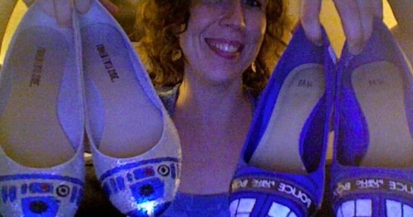 Star Wars R2D2 shoes and Doctor Who Tardis shoes for nerdy girls