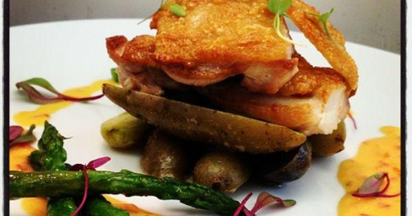 Pan Roasted Chicken, Roasted Potatoes, Asparagus, and Sambal Cream ...