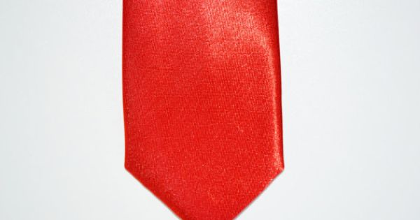 Mens Tie Red Orange Modern Style Skinny Necktie by TiestheKnot, $8.99