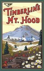 11-Inch by 17-Inch Northwest Art Mall Multnomah Falls with Train Artwork by Paul A Lanquist