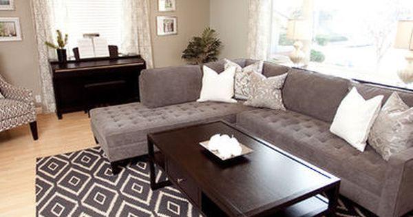 Grey Living Room Design Ideas; grey couch, dark furniture