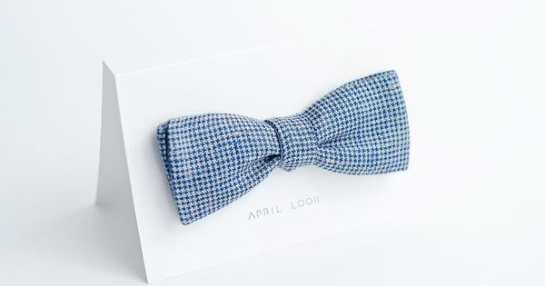 blue houndstooth bow tie    april look shop . via @Jenn L Hagler !! Such a good look. | See more about Houndstooth, Bow Ties and Ties.