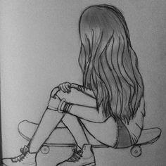 Resultado De Imagem Para Desenho Menina No Skate Desenhos