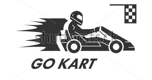 Vector Black Flat Karting Logo And Symbol Silhouette Figures Kart Racer Karting Go Kart Logos