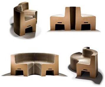 Flexiblelove Fauteuil Extensible En Carton Recycle Mobilier De Salon Banc Pliable Mobilier En Carton