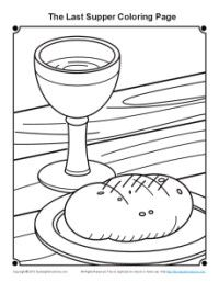 Last Supper Coloring Page For Maundy Thursday On Sunday School
