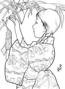 七夕の短冊付ける少女の塗り絵の下絵え画像 塗り絵絵手紙