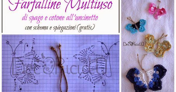 Farfalle di spago e cotone all'uncinetto, con schema e spiegazioni (decoriciclo)  Spago ...