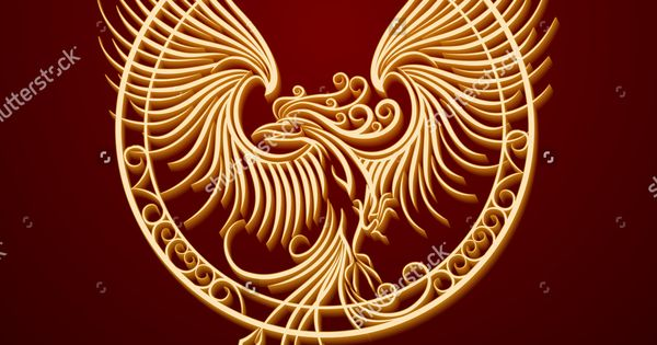 phoenix bird with rising wings in a circle ancient symbol