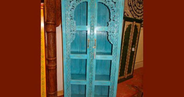 Armoire Bibliotheque Vitree Turquoise Meuble Indien Et Decoration Interieure Indienne Du Rajas Decoration Interieure Indienne Meuble Indien Interieurs Indiens