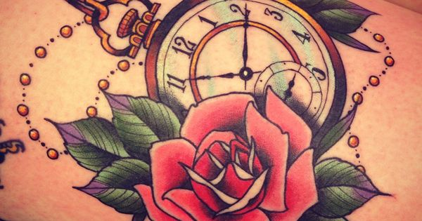 pocket watch clock and rose tattoo Tattoo Ink