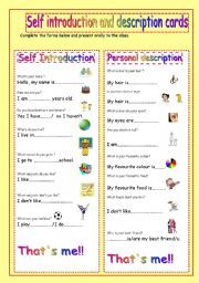 English worksheet: self introduction and description cards ...