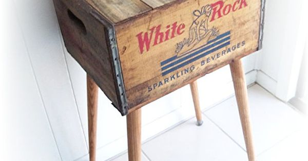 Shipping Crate Side Table 1930s 1940s WHITE ROCK Sparkling Beverages Box.