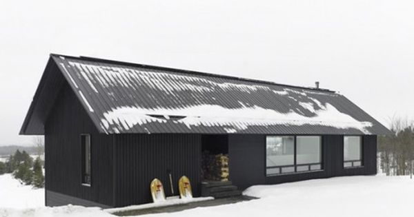 Modern cabin. Like the black with black metal roof and the ...