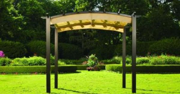 Hampton Bay 9 ft. x 9 ft. Steel and Aluminum Arched Pergola with  Retractable Canopy | Bays, Ps and Steel - Hampton Bay 9 Ft. X 9 Ft. Steel And Aluminum Arched Pergola With