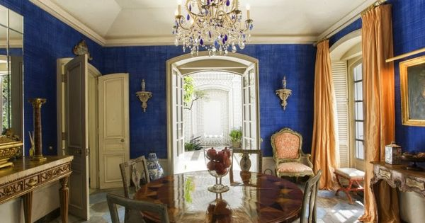 cobalt blue dining room of bunny mellon's former home in nyc