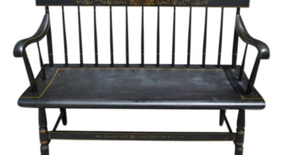 Vintage Hitchcock Furniture Black Spindle Back Deacon S