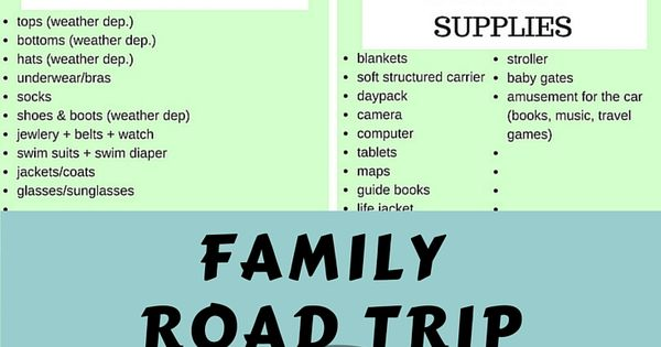 Road Trip Packing List for Families with Babies and Young ...