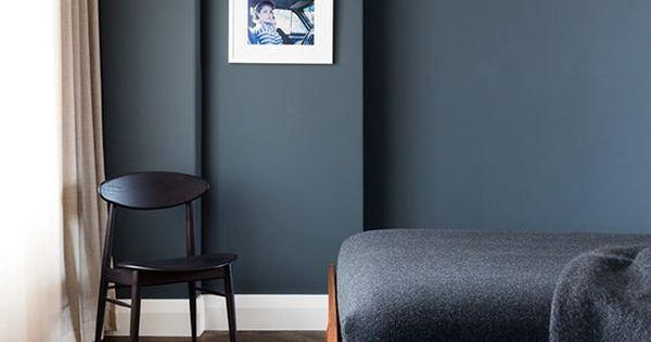 Dark Gray Matte Wall Paint Color Bedroom With A Dark