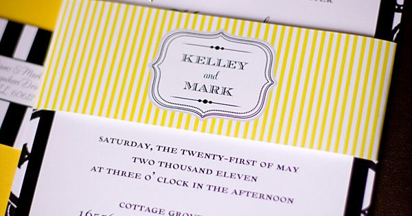 Yellow and Black striped wedding invitations created by CT-Designs - photographed by Allori ...