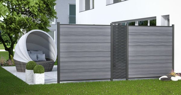 System Flow Anthrazit Kombiniert Mit Der System Serie Wpc Platinum Xl In Grau Sichtschutz Garten Gartengestaltung Garten Terrasse