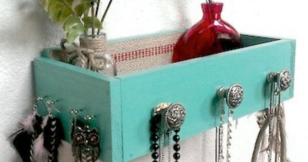 schmuck st nder selber machen schublade aquamarine diy. Black Bedroom Furniture Sets. Home Design Ideas