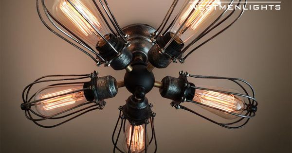 Globe 5 lights cage flush mount ceiling light see more ideas about ceiling lamps industrial - Little max ceiling fan ...